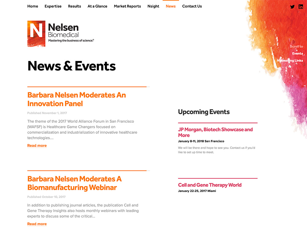 Screenshot of Nelsen Biomedical News webpage