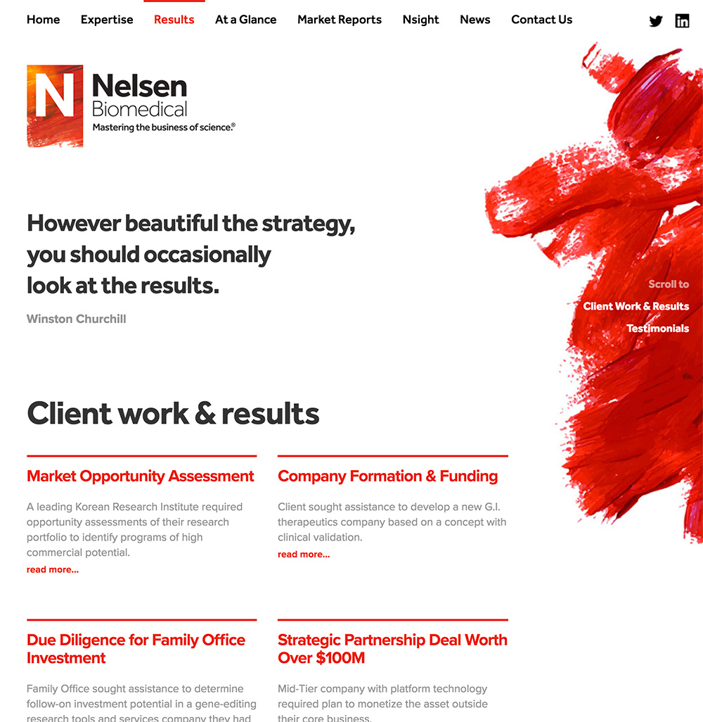 Screenshot of Nelsen Biomedical Project Results webpage