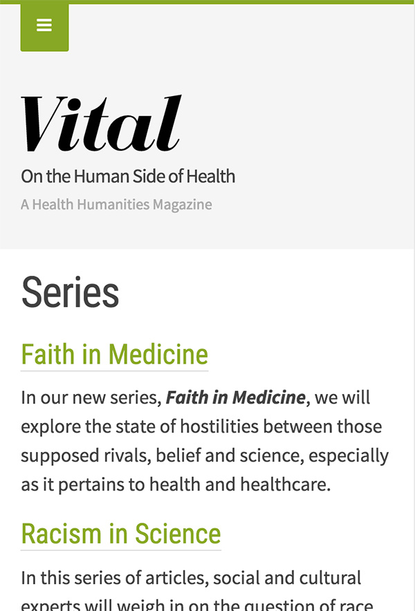 Screenshot of Vital Magazine on a mobile device